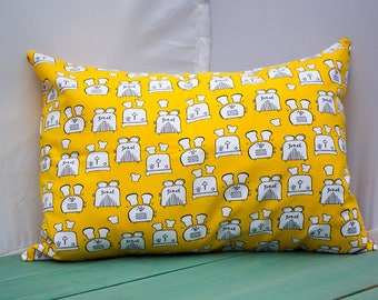 Yellow Toasters Pillowcase - fits 13 x 18 or 12 x 18 Travel or Toddler Pillow