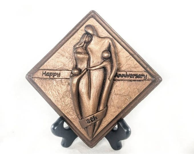 Happy 8th Anniversary Bronze Plaque,Anniversary Gift, Eighth Wedding Anniversary Gift for Him and Her