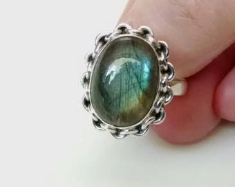 Sale: Sterling Silver Ring of Natural Luminous Labradorite Size 7.5