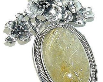 Sale: Golden Rutilated Quartz Sterling Silver Pendant