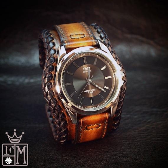 Leather cuff watch Tobacco sunburst wide layered laced edge Brown watch band cuff Bracelet  Handmade for YOU in New York by Freddie Matara