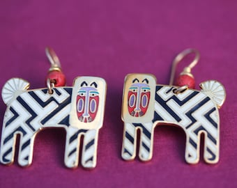 VINTAGE Laurel Burch ZZZEBRA pierced dangle earrings
