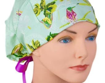 Scrub Hats // Scrub Caps // Scrub Hats for Women // The Hat Cottage // LARGE // Ribbon Ties // Butterfly Garden
