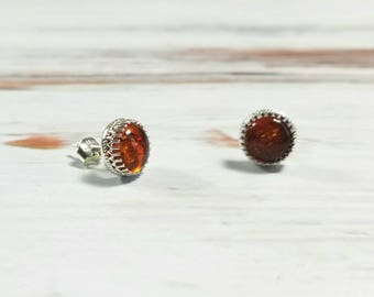 8mm Amber Sterling Silver Crown Post Earrings, Stud Earring Boho Earrings, Gypsy Earrings