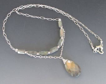 Labradorite Crystals and Pendant Sterling Silver Layered Necklace