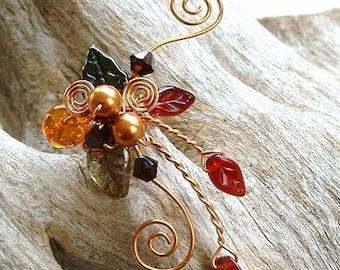 ON SALE Ear Cuff Autumn Woodland Tapestry, No Piercing, Fairy Jewelry, Fantasy Vine Wrap