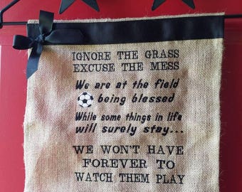 SOCCER Embroidered burlap garden flag or wall hanging