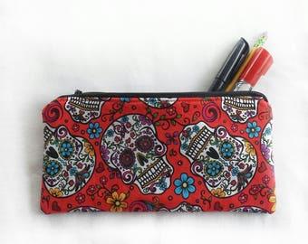 red sugar skull zipper pouch, skeleton school pencil or art supply bag, dia de los muertos travel cosmetic makeup purse