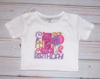 Sample SALE GIRLS My First BIRTHDAY Bodysuit Size 12 Months--Ready To Ship-- Glitter Sparkle Birthday--Balloons