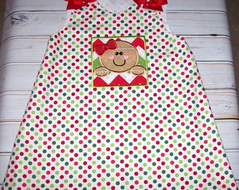 SAMPLE SALE Gingerbread Girl Peeker Christmas Dot A-line Dress Size 4T--Christmas--Ready to Ship