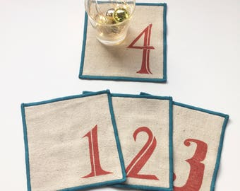 Ready to ship! Numbered Cocktail Napkin Set of Four, Handmade in Seattle, 100% cotton cloth coaster, Bar Accessory
