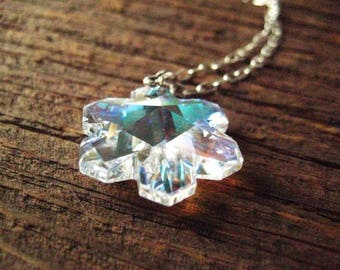 Snowflake Necklace, Swarovski Element, Crystal Snowflake, Sterling Silver,  Faceted Snowflake, Sterling Bail, Winter Necklace, candies64