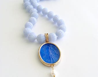 Carved Blue Lace Agate Venetian Intaglio Necklace - Isola Bela Necklace