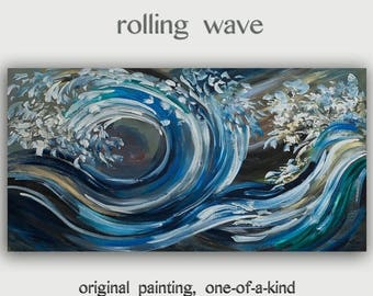 Sale Landscape painting Rolling wave sea art Original large Turquoise seascape abstract painting acrylic painting by Tim Lam 48x24