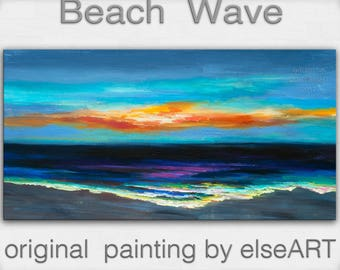 Sale Original abstract painting Sea art Sunset Beach Wave on gallery wrap canvas oil painting home art by tim Lam 48x24