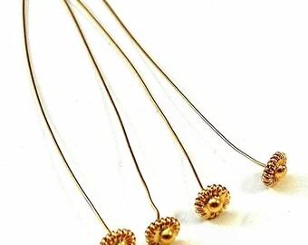 24k Gold Vermeil 3 inch Headpins - Four