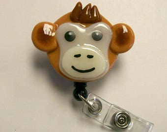 Monkey Retractable Badge Holder Fused Glass.