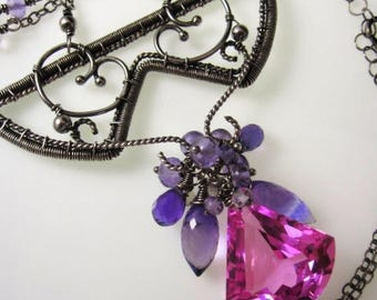 SUMMER SALE The Sunday Fiesta Necklace - Pink Topaz, Amethyst in Sterling and Fine Silver Wrapped Necklace