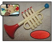 Vintage Plastic Toy Trumpet by Proll Toys, childs toy horn, red white blue, 70s, musical instrument