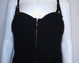 SALE 25% off SALE BISOU Bisou 90's Vintage 90's Women's black Tank Corset Top zip tie lace up