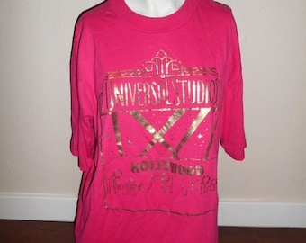 Closing Shop 40%off SALE Vintage 80s 90s Universal Studios Hollywood California   USA   pink          shirt t shirt tee