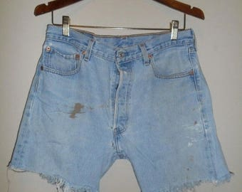 Closing Shop 40%off SALE LEVI'S 501 Jeans Usa 501 Button Fly cutoffs cut off festival Denim Jean Shorts denim light blue  waist W 32