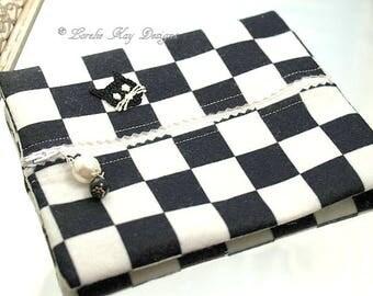 Black & White Checkerboard Kitty Cat Felt Zipper Pouch Cosmetic Makeup Bag Jewelry Bag Clutch Stocking Stuffer Lorelie Kay Designs