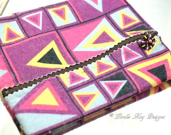 Colorful Geometric Retro Print Felt Zipper Pouch Cosmetic Makeup Bag Jewelry Bag Clutch Stocking Stuffer Lorelie Kay Designs