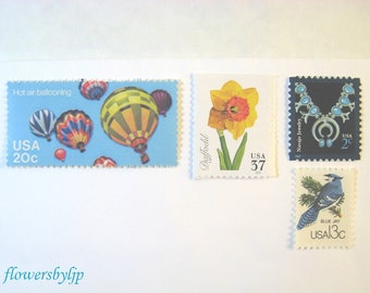 Spring Flowers Postage Stamps, Hot Air Balloons - Bird - Turquoise Blue Stamps, Mail 20 Wedding Invitations, 71 cents postage new rate 2 oz