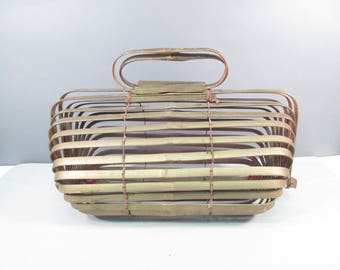 Vintage bamboo purse, slat purse, Japan 1960s, cage purse, gold and red, basket purse, folding, collapsable