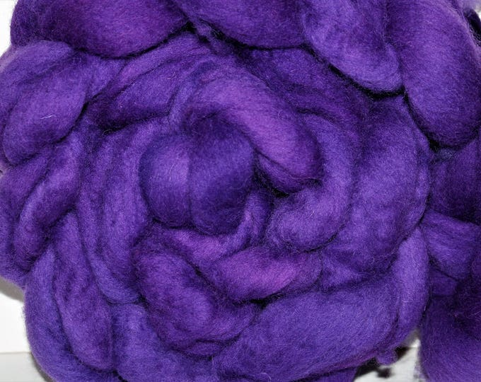 Kettle Dyed Cheviot Wool top. Roving.  Spin. Felt. Soft and easy to work with. Electric Purple. 1lb. Braid