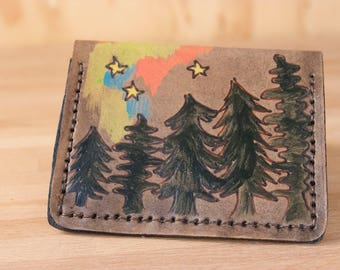 Thin Wallet for Women or Men - Leather Minimalist Wallet in the Stars Pattern - Trees, Stars and Northern Lights - Antique Black