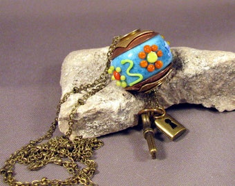 Handmade Lampwork Bead Necklace Size Large Hole Brass Lined and Double Capped Bead  by Monaslampwork - Flowers in the Round by Mona Sullivan