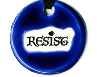 Resist Ceramic Necklace in Cobalt Blue
