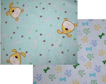 DOGS AND BONES Baby Cotton Fabric 2 yards of each 4 yards total Sale