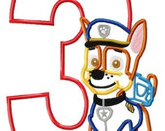 PATR0L Police Dog Birthday 3 Machine Applique Embroidery Design Pattern 5x7 6x10 7x11 INSTANT DOWNLOAD