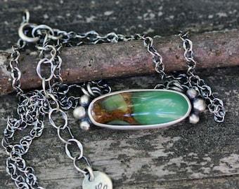 Chrysoprase sterling silver necklace