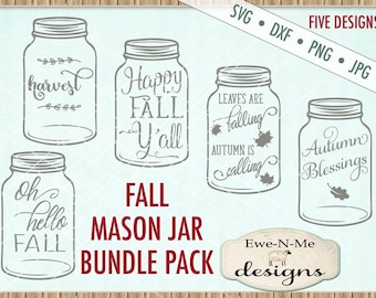 Fall SVG Bundle - Fall Mason Jar svg bundle  - Happy Fall Yall - Oh Hello Fall - Mason Jar SVG bundle  - Commercial use svg, dxf, png, jpg