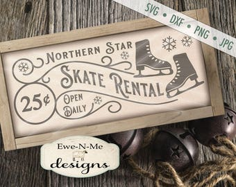 Winter SVG - Christmas svg - Skate Rental svg - Ice Skate SVG - Ice Skate Sign SVG - Commercial Use svg, dxf, png and jpg