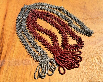 Two Flapper Necklace,long VTG Handmade Glass Beaded,Loop Tassels,Art Deco 60's,Gray,Maroon ,Good Condition