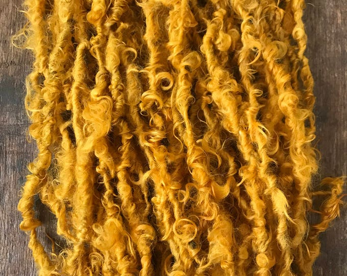 Honey Mustard, 50 yards handspun yarn, rich mustard yellow art yarn, lockspun yarn, curly handspun yarn,