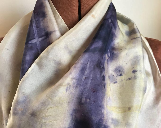 Handpainted naturally dyed silk scarf - unique, one of a kind, plant dyed eco friendly fashion. 005
