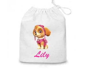 """Personalized Paw Patrol Goodie Natural Cotton Bag Perfect for Birthday parties 5""""x7"""""""