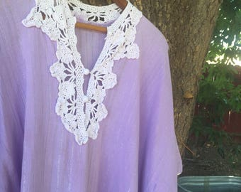 Vtg Cotton Gauze Purple Caftan with Lurex