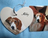 Pet Portrait Ceramic Memorial Ornament Hand Painted and Made to Order Basset Hound by Pigatopia