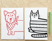 Pair of Mini Cat and Corgi Dog Screen Prints by Jane Foster - signed  -  Nursery Wall Art