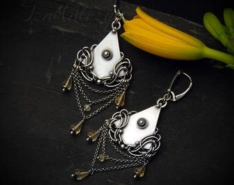 SALE was 159EUR! Melilotus - unique handcrafted chandelier earrings - silver and citrine
