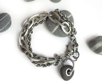 Riveted Grommet Lake Erie Beach Stone Sterling Silver Chains Bracelet Repurposed Vintage Multichain Adjustable Swivel Clasp Recycled