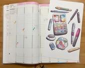 Watercolor Supplies Illustration Shitajiki Pencil Board Notebook for Traveler's Notebook