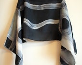Silk blouse hand painted-Silk scarf- Scarves for her-Wedding silk top-Silk handpainted-Ooak silk blouse-Silk grey-white-black 55x19 in